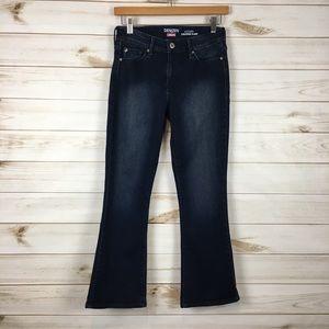Denizen modern cropped flare dark wash jeans